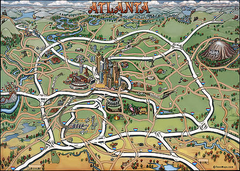 Kevin Middleton - Atlanta Cartoon Map