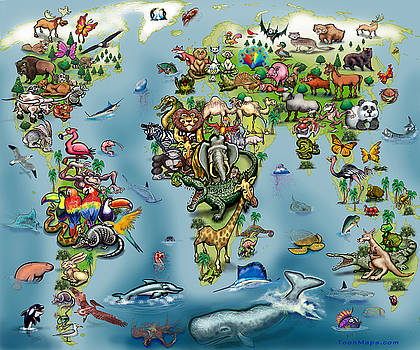 Kevin Middleton - Animals World Map