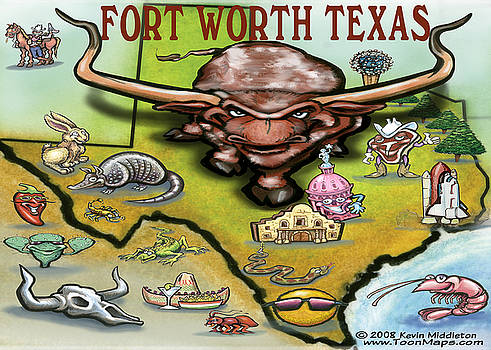 Kevin Middleton - Fort Worth Texas Cartoon Map