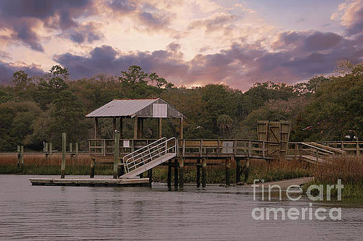 Dale Powell - Shem Creek Dock at Sunset