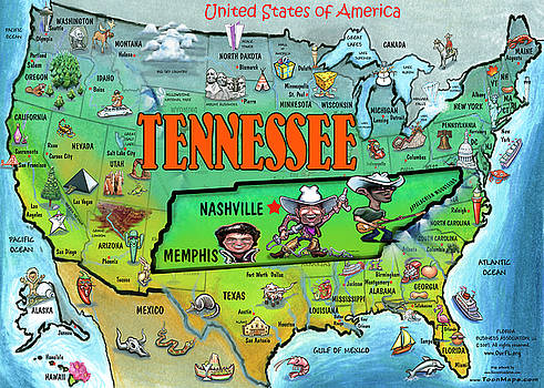 Kevin Middleton - Tennessee USA Cartoon Map