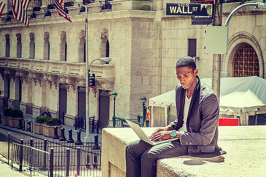 Alexander Image - Young African American Man working on Wall Street in New York