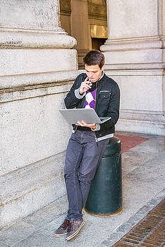 Alexander Image - Young college student studying on street in New York 15042520